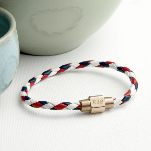 Personalised Nautical Leather Bracelet With Gold Clasp
